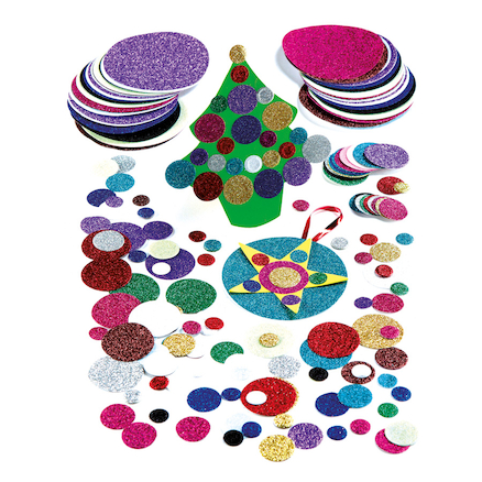 Glitter Paper Mixed Circles Assorted 3000pk  large