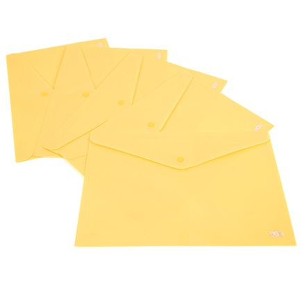 TTS A4 Popper Wallets Yellow 5pk  large