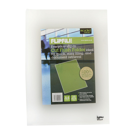 Recycled Cut Flush Folder A4 Clear 25pk  large