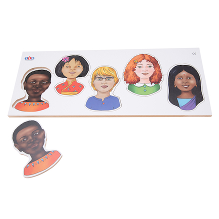 Wooden Multicultural Jigsaw Puzzle 5pcs  large