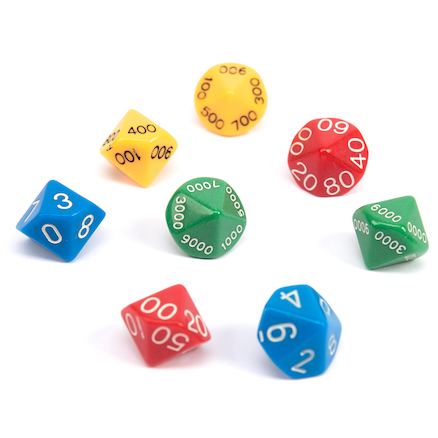 Thousands, Hundreds, Tens and Unit Dice 8pk  large