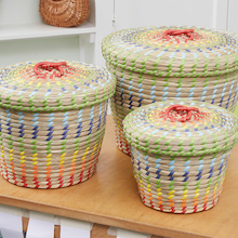 Colourful Nesting Seagrass Storage Baskets 3pk  medium