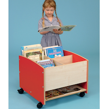 Low Level Mobile Kinderbox bookcase with Shelf  medium