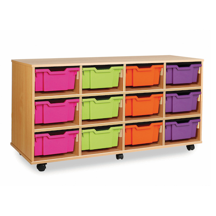 Mobile Tray Storage Unit With 12 Deep Trays  large