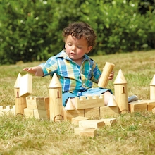Outdoor Wooden Castle Blocks 40pk  medium