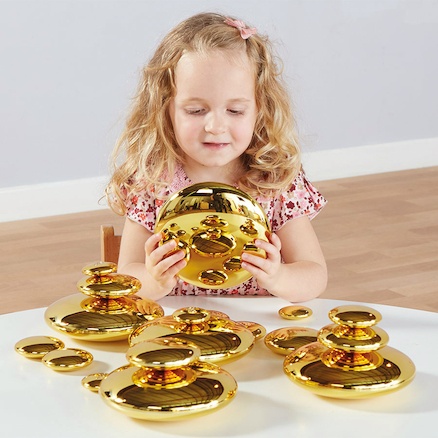 Mirrored Stacking Pebbles Gold 20pk  large