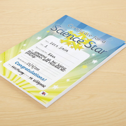 Science Star Certificates 100pk  large
