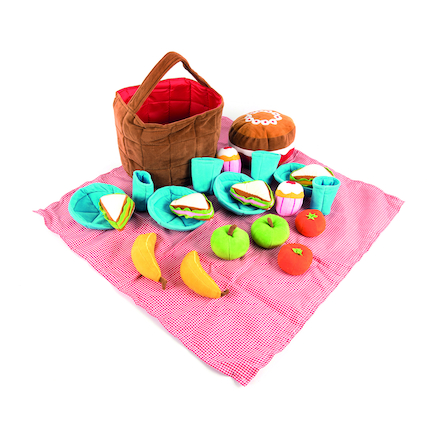 Soft Role Play Picnic Basket with Fabric Food  large