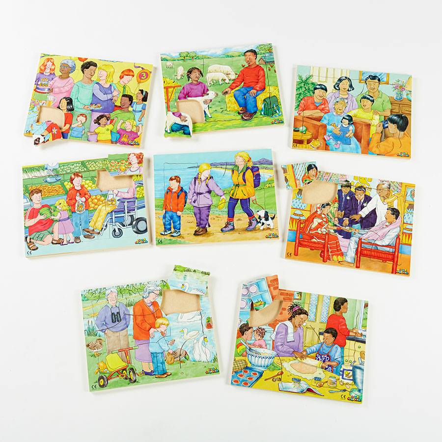 buy illustrated kinds of family jigsaw puzzles 8pk tts. Black Bedroom Furniture Sets. Home Design Ideas