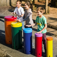 Outdoor Rainbow Samba Drums 5pk  medium