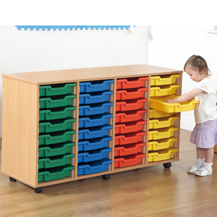 Mobile Tray Storage Unit With 32 Shallow Trays  large