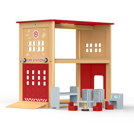 Small World Wooden Fire Station and Accessories  large