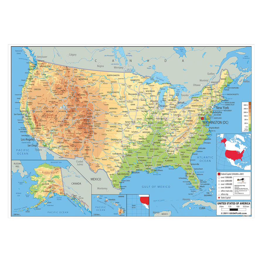 Buy USA Physical Map A TTS - Physical map usa