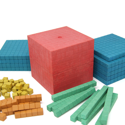 Re\-Wood Dienes Base Ten Set \- 5 Colours  large