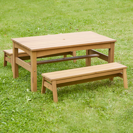 Outdoor Low Table and Benches Set  large