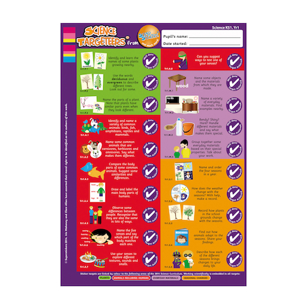 Science Target Stickers Years 1 to 6  large