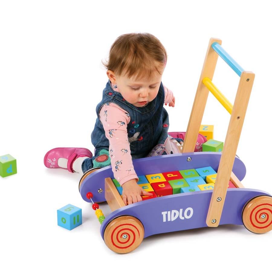 buy wooden baby walker with 24 blocks tts