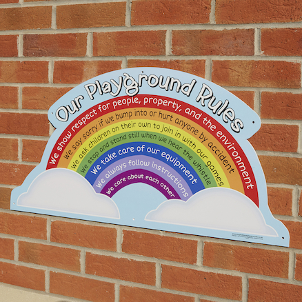 Rainbow Playground Rules School Sign  large