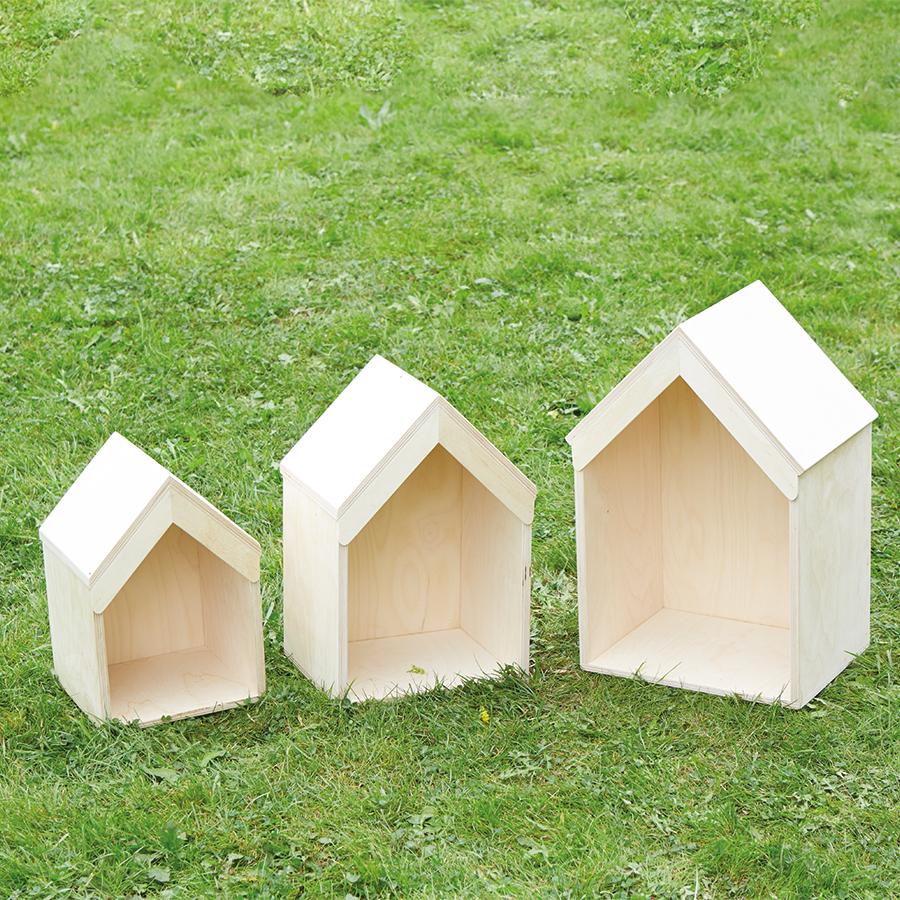 Buy Nesting Wooden Small World Houses 3pk