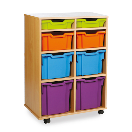Mobile Tray Storage Unit With 8 Mixed Size Trays  large