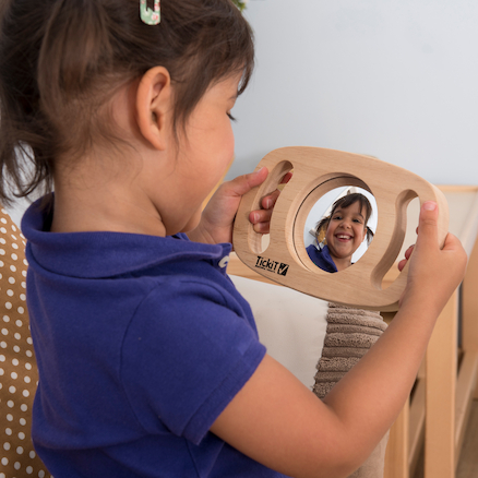 Easy Grip Wooden Handle Two Sided Mirror  large