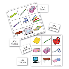 Classroom Objects French Vocabulary Bingo Game  medium