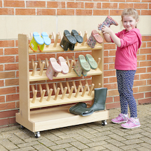 Outdoor Wooden Wellie Rack  medium