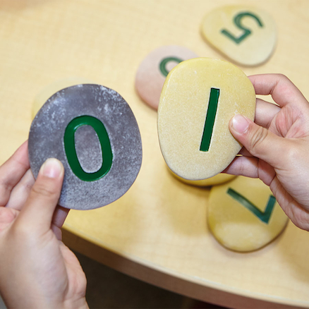 Number Pebbles Engraved Number Stones 0\-10 22pcs  large