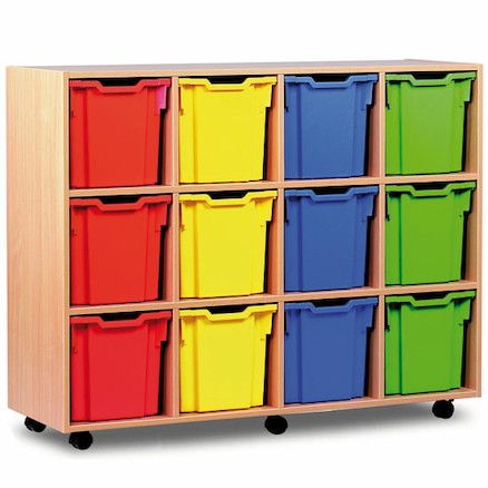 Mobile Tray Storage Unit With 12 Jumbo Trays  large