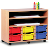 Paper Storage Wooden Trolley With Trays  small