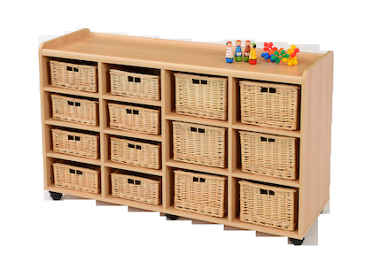 Storage Unit with 8 Shallow 6 Deep Wicker Baskets  large