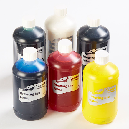 Assorted Drawing Inks 600ml 6pk  large