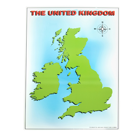 UK Magnetic Map with 40 Illustrated Pieces A2  large