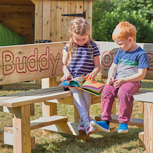 Outdoor Wooden Buddy Corner Bench  medium