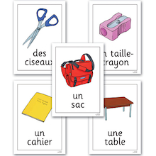 Classroom Objects French Vocabulary Flashcards A4  medium