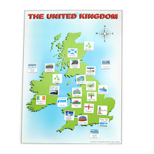 UK Magnetic Map with 40 Illustrated Pieces A2  medium