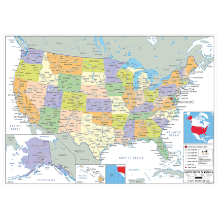 Buy USA Political Map A1 | TTS