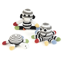 Black and White Crochet Rattles 3pk  medium
