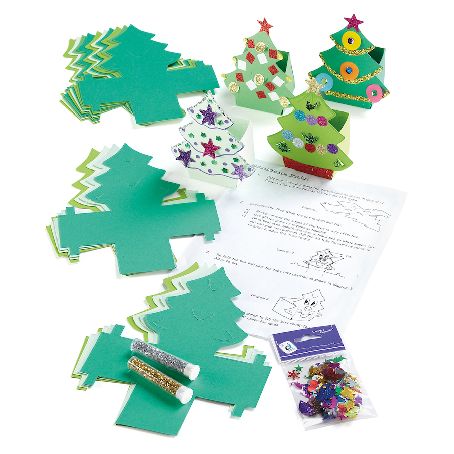 Buy Precut Card Christmas Tree Gift Boxes 30pk | TTS