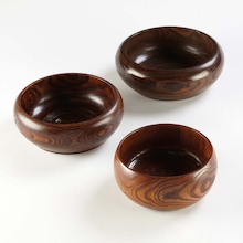 Assorted Wooden Bowls 3pk  medium