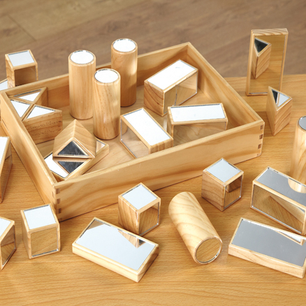 Wooden Mirrored Blocks and Storage Tray  large