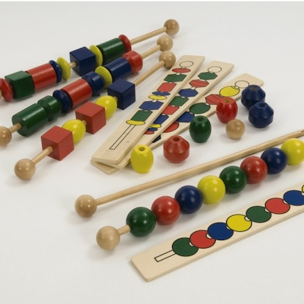 Wooden Coloured Sequencing Beads  large