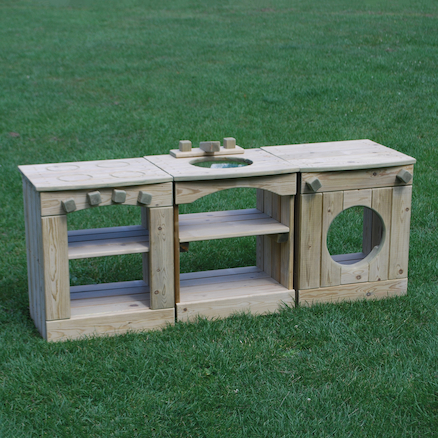 Outdoor Wooden Role Play Kitchen Station  large