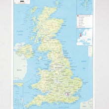 UK Physical Map A1  medium