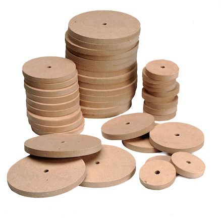 Mixed Wooden Wheels 4mm Hole  large