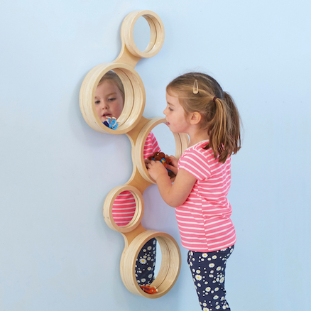 Wooden Framed Mirror With Circles Design 93 x 42cm  large