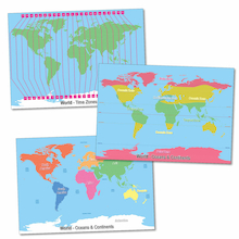 Climate and Time Zones World Maps A1 3pk  medium