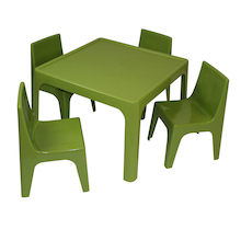 Polypropylene Table and Chairs Set Green  medium