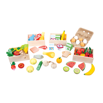 Role Play Bumper Wooden Food Set in Crate  large