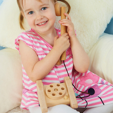 Role Play Wooden Old Fashioned Telephone  medium